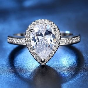 Teardrop cz Engagement ring